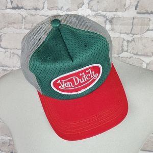 Y2K Von Dutch Trucker Hat Snapback Large Embroidered Logo Patch Red